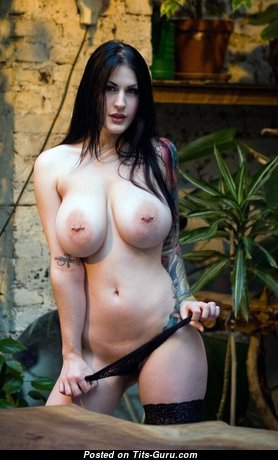 Celina Blanchette - Amazing Brunette Babe with Splendid Open Natural Great Boobs, Tattoo & Piercing (Sexual Image)