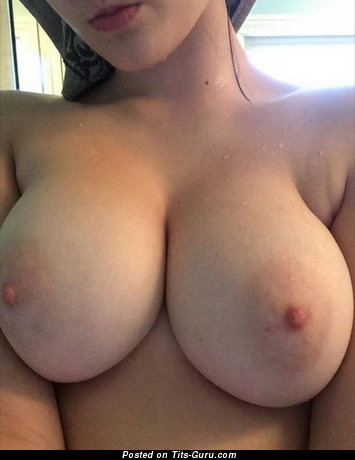 Topless amateur awesome lady with big natural tots selfie
