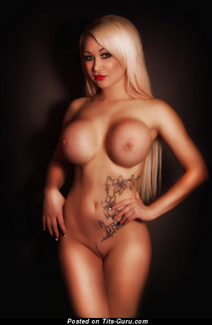 Naked wonderful lady with big fake breast image
