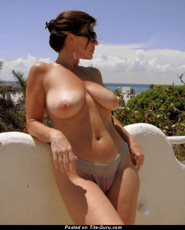 Delightful Brunette Babe with Delightful Open Real Titties (Sexual Foto)
