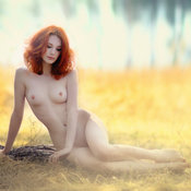 Red hair with medium natural boobies picture