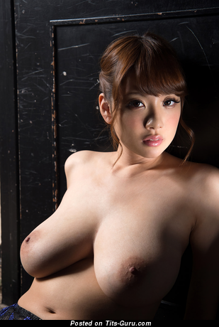 Shion Utsunomiya - Hot Topless Japanese Brunette Pornstar with Hot Bare Natural Med Jugs & Big Nipples (Hd Porn Photo)