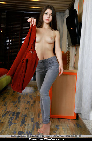 Delphina - Good-Looking Topless Brunette Babe with Good-Looking Bald Natural Modest Titties (Sexual Pix)