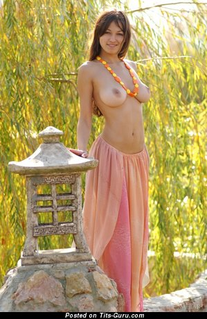 Изображение. Фотография восхитительной голой тёлки с средней натуральной грудью