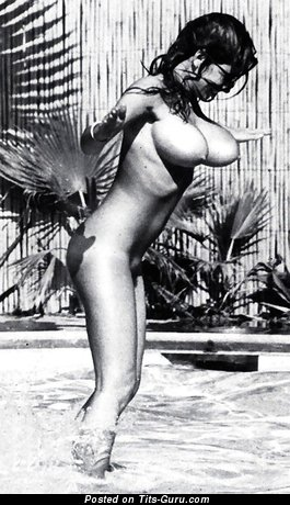 Elegant Lady with Elegant Nude Real Sizable Titties in the Pool (Vintage 18+ Picture)