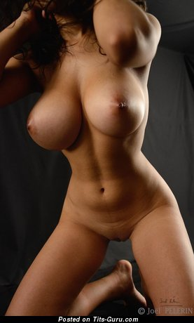 Lovely Brunette with Lovely Defenseless Silicone H Size Titties (Hd Xxx Pic)