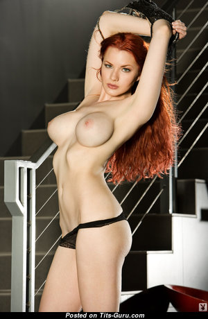 Kinsy Elizabeth - Sexy Playboy Red Hair with Sexy Naked Silicone Melons & Huge Nipples (Sexual Wallpaper)