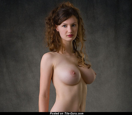 Image. Naked brunette with big natural tits photo