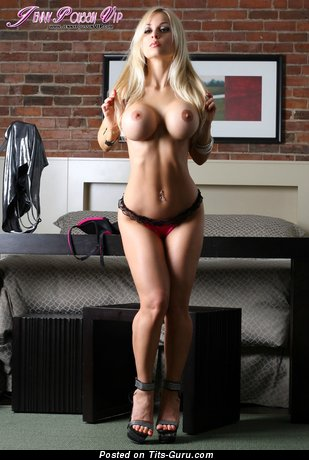 Image. Jenny Poussin - naked blonde with medium fake breast image
