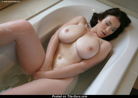 Anna Song - Fascinating Wet Russian Brunette Babe with Fascinating Exposed Real Big Sized Hooters in the Shower (Hd Porn Wallpaper)