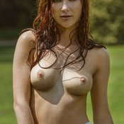 Red hair with medium natural boobs photo