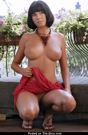 Image. Conny Carter - sexy topless brunette with medium boobs image