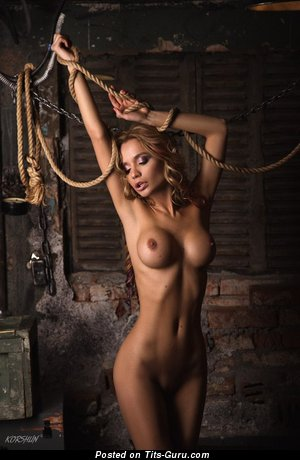 Image. Sexy topless amateur blonde with medium fake boobies photo