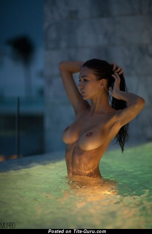 Image. Sexy topless brunette with natural tits picture