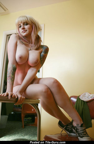 Awesome Glamour & Topless Blonde with Tattoo is Smoking (Xxx Photoshoot)