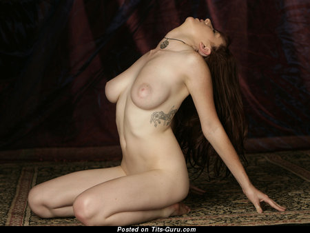 Image. Sarah - brunette with big natural tots, tattoo and big nipples image