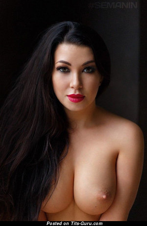 Sexy nude brunette with medium natural boobies picture