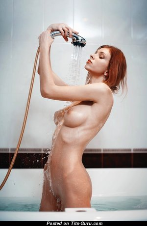 Elegant Wet Red Hair with Elegant Nude Med Boobie in the Shower (Hd 18+ Photoshoot)