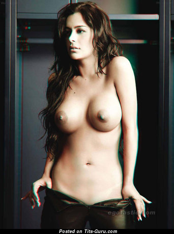 Topless latina brunette with big tittes pic