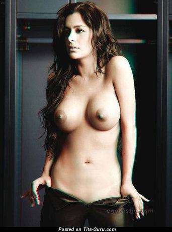 Alluring Topless Latina Brunette with Alluring Bald Full Titties (Hd Xxx Foto)