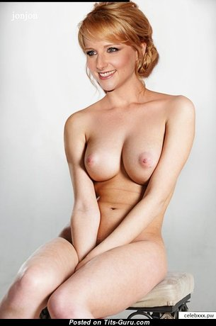 Melissa Rauch - Marvelous Topless American Blonde Actress & Babe with Marvelous Bald Real Normal Melons (Sexual Pix)