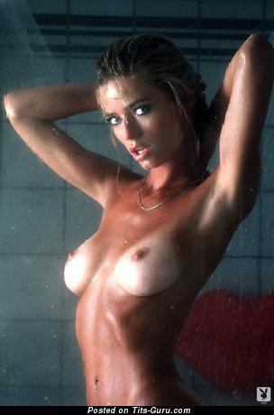 Marianne Gravatte - Alluring Topless & Wet American Playboy Blonde Babe with Alluring Bare Real Normal Knockers & Erect Nipples (Vintage Xxx Pic)