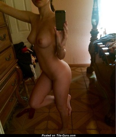 Image. Topless amateur awesome female with medium natural boobies selfie