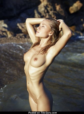 Image. Sexy topless amateur blonde with medium natural boob picture