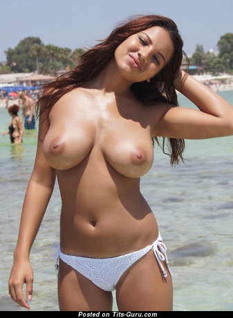 Image. Sexy topless hot lady with natural breast photo