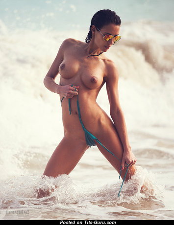 Elisa Meliani - Charming Glamour & Wet Brunette Babe with Hot Nude Natural Busts, Enormous Nipples, Sexy Legs in Bikini on the Beach (18+ Photoshoot)