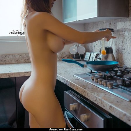 Elegant Topless Housewife & Babe with Sexy Legs is Doing Fitness (Porn Photo)