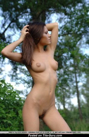 Emily A - Fine Topless Ukrainian Brunette Babe with Fine Exposed Real Mid Size Boobie (18+ Photo)