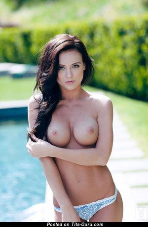 Debbie Boyde - Lovely Topless Australian Playboy Brunette Babe with Lovely Bald Mid Size Tit & Long Nipples (Xxx Pix)