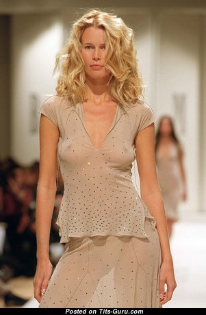 Claudia Schiffer - Elegant Non-Nude German Blonde Babe with Elegant Real Soft Tit, Red Nipples, Sexy Legs (Hd 18+ Photo)