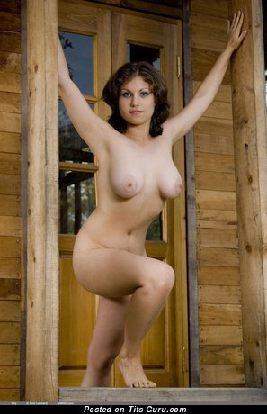 Image. Mia - naked brunette with big natural tots image