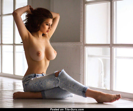 Sexy Topless Brunette with Sexy Naked Natural Mid Size Jugs (Porn Photoshoot)
