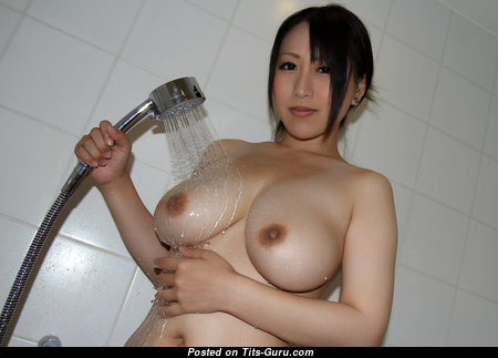 Yuna Hoshizaki - Lovely Topless Japanese Brunette Actress & Pornstar with Pointy Nipples in the Shower (Hd Xxx Image)