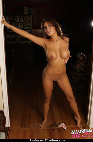 Image. Justene Jaro - nude brunette with big fake tots pic