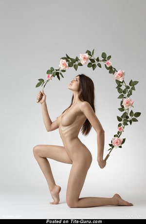 Image. Jasmine Andreas - nude brunette with medium natural tittys image