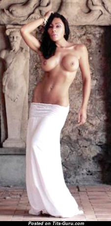 Celine - Graceful Topless & Glamour Brunette with Graceful Nude Soft Boob, Huge Nipples, Tan Lines in Lingerie is Undressing (Sexual Foto)