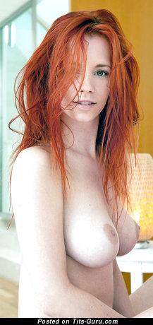 Topless red hair with medium natural boobs & big nipples image