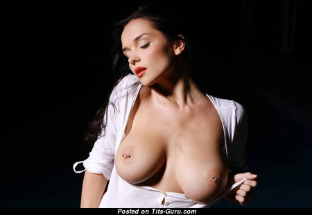 Eugenia Diordiychuk - Wonderful Ukrainian Brunette Pornstar with Wonderful Naked Real Chest & Huge Nipples (Sex Photoshoot)