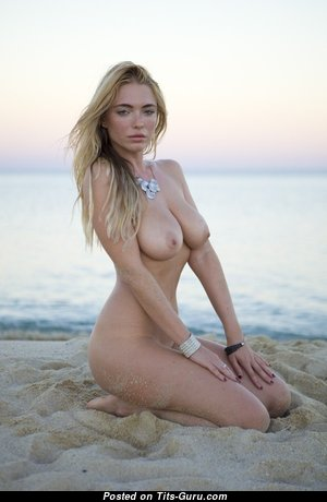 April Summers - Superb Topless British Playboy Blonde with Superb Naked Real Boobie & Large Nipples on the Beach (18+ Wallpaper)