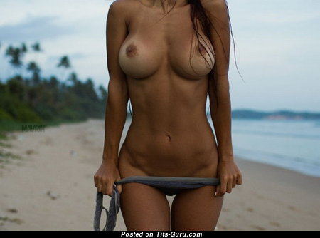 Delightful Brunette Babe with Delightful Defenseless Tight Boobies on the Beach (18+ Pix)