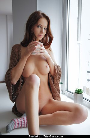 Beautiful Brunette Babe with Beautiful Naked Natural Med Jugs (Hd Porn Pix)