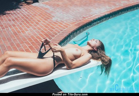 Carmella Rose - Handsome Topless & Glamour Blonde Babe with Handsome Defenseless Natural Tiny Chest, Pointy Nipples, Sexy Legs in Bikini in the Pool (18+ Photoshoot)
