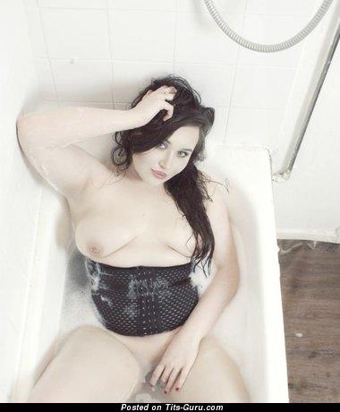 Porsha Louise - Splendid Topless Brunette Babe with Splendid Open Real Tight Titties, Erect Nipples, Piercing in the Shower (Vintage Hd 18+ Wallpaper)