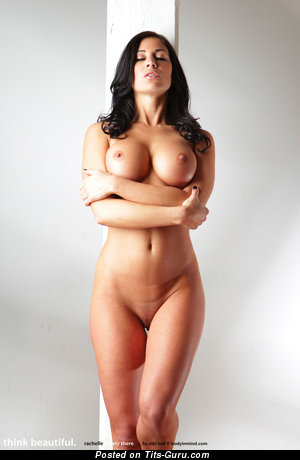 Image. Rachelle Barely - sexy naked brunette with huge natural boob and big nipples picture