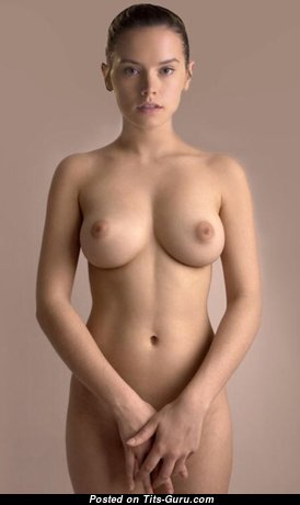 Daisy Ridley - Appealing Topless & Glamour British Brunette Actress & Babe with Appealing Bare Dd Size Titty & Pointy Nipples (Hd Porn Pix)