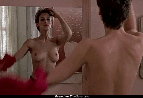 Jamie Lee Curtis - Amazing Topless American Brunette Babe Shaking The Nicest Open Natural Normal Melons (Porn Gif)
